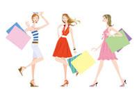 ショッピングバックを持つ女性 3人