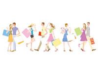 ショッピングバックを持つ男女