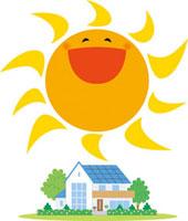 大きな太陽と家