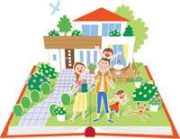 飛び出す絵本の家と家族