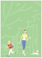 玄関から出る子供と母親