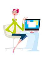 パソコンで説明をする女性