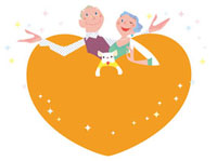 ハートとシニア夫婦とイヌ 20037005043| 写真素材・ストックフォト・画像・イラスト素材|アマナイメージズ