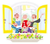 窓からこちらを見る三世代家族とイヌ 20037005050| 写真素材・ストックフォト・画像・イラスト素材|アマナイメージズ