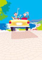 ドライブするシニア夫婦とイヌ 20037005072| 写真素材・ストックフォト・画像・イラスト素材|アマナイメージズ