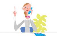 電話で応答する女性