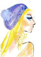 青い帽子の女性 横顔