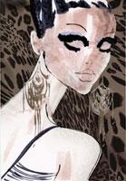 女性の顔 レオパード