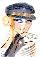 黒い帽子の女性 顔