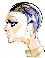 ショートカットにピアスの女性 横顔