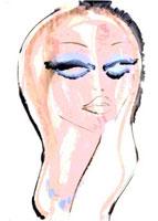 青い化粧の女性 顔