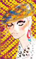 黄色い帽子の女性 顔