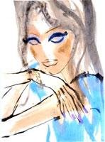 青い服の女性 顔