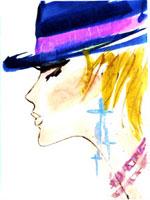 帽子とピアスの女性 横顔