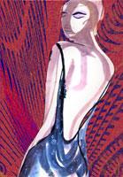 背中の開いたドレスの女性