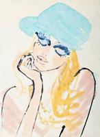 青い帽子の女性 顔