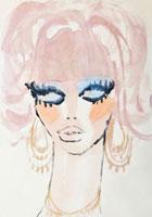 ピンクの髪の女性 顔