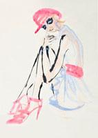 ピンクの帽子を被り座る女性