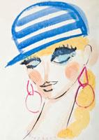 帽子を被る女性 顔