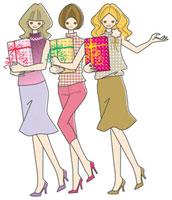 プレゼントボックスを持つ3人の女性