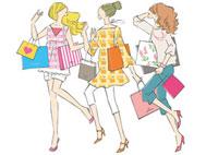 ショッピングバッグを持つ3人の女性