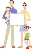 白いプレートを持つ家族