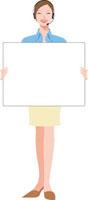 白いプレートを持つ女性オペレーター