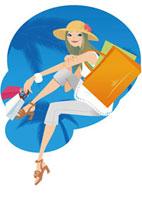 ショッピングバッグを持つ女性 夏