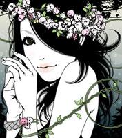 花と女性 顔 20037005180| 写真素材・ストックフォト・画像・イラスト素材|アマナイメージズ