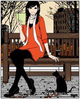 ベンチで本を読む女性と黒ネコ