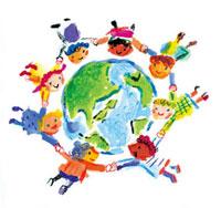 地球と輪になるいろんな国の子供たち