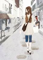 ストリートを歩く女性