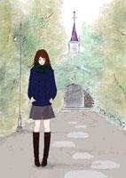 紺色のハーフコートを着た女性