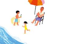 砂浜で過ごす親子