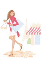 買い物をする女性 パリ