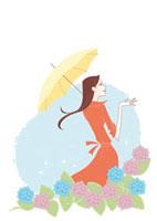 アジサイと傘をさす女性