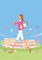 パリを歩く女性