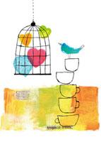 ハートの鳥かごとカップ 20037005371| 写真素材・ストックフォト・画像・イラスト素材|アマナイメージズ