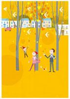 秋の森で過ごす家族 20037005399| 写真素材・ストックフォト・画像・イラスト素材|アマナイメージズ