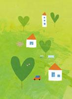 ハートの木と家 20037005402| 写真素材・ストックフォト・画像・イラスト素材|アマナイメージズ