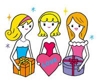 プレゼントボックスを持つ女性3人