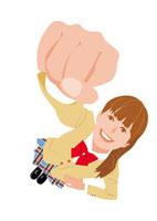 こぶしを握りしめる女子学生