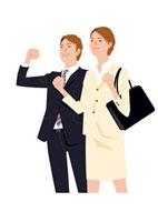 ガッツポーズをする男女 ビジネスイメージ