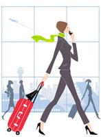 空港で携帯電話で話す女性