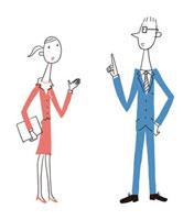 会話をするビジネスウーマンとビジネスマン
