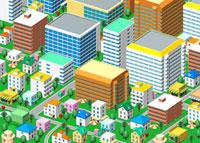 カラフルなビルと家の街並み 俯瞰