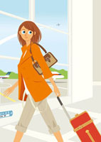 空港で歩く女性