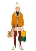 ショッピングバッグを持つ女の子