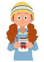 新芽の出た缶を持つ女の子 20037005509| 写真素材・ストックフォト・画像・イラスト素材|アマナイメージズ
