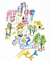 緑の並ぶ街角をサイクリングする親子
